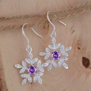 Purple Amethyst Snowflake Earrings